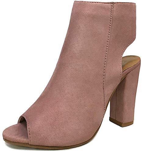 Minetom Damen Mode Elegante Schuhe High Heels Reißverschluss Chunky Anti Rutsch Sohle Stiefeletten Stiefel Kurzschaft Boots Sandalen Pink EU 42