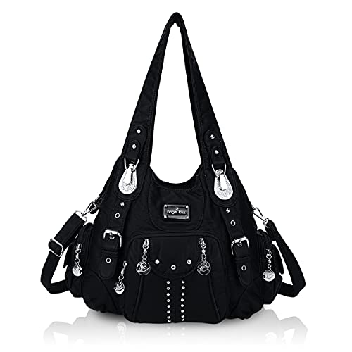 Angel Kiss Handbags for Women Soft PU Leather Large Hobo Bags for Ladies Top Handle Satchel Shoulder Bag Black