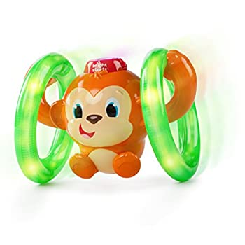 Bright Starts Roll & Glow Monkey Crawling Baby Toy with Lights and Sounds for 6 Months and up