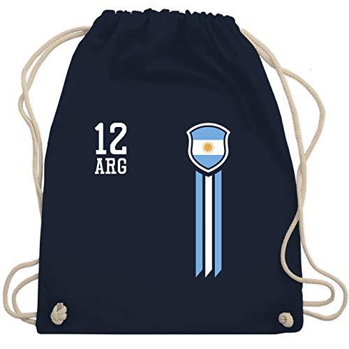 Shirtracer Fußball-Europameisterschaft 2020-12. Mann Argentinien Fanshirt - Unisize - Navy Blau - turnbeutel argentinien - WM110 - Turnbeutel und Stoffbeutel aus Baumwolle