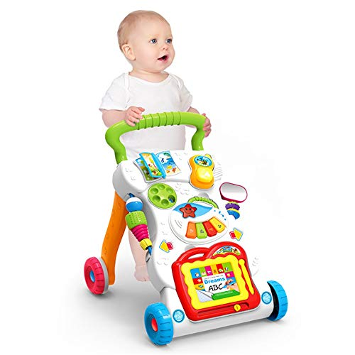 Review Activity Walker 2 In 1 Baby Walker Activity Center With Music Light Mini Mobile Sketchpad Sit...