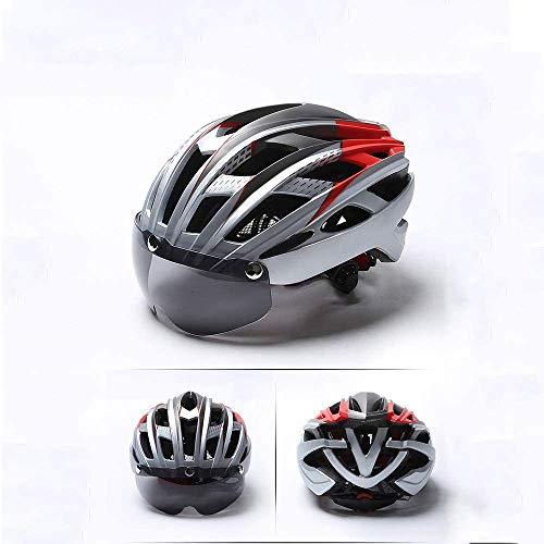 ZHXH Casco da bici da corsa con occhiali magnetici staccabili Fodera rimovibile per insetti Certificazione CE (multicolore)
