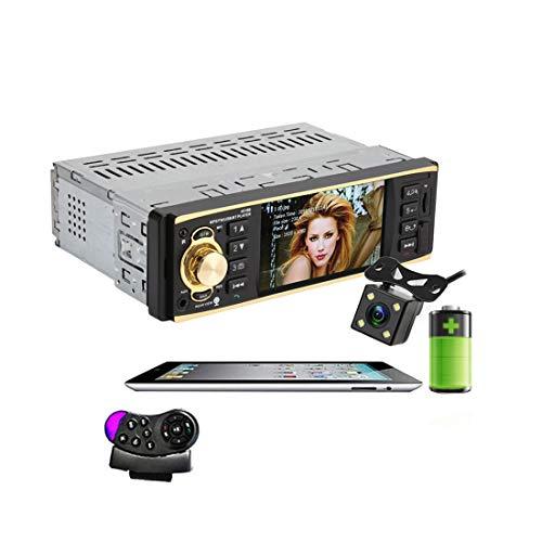 1 DIN Radio per Auto 4019B + 4led Audio Stereo USB AUX FM Stazione Radio Bluetooth Lettore MP3 con Telecomando Telecamera per retromarcia