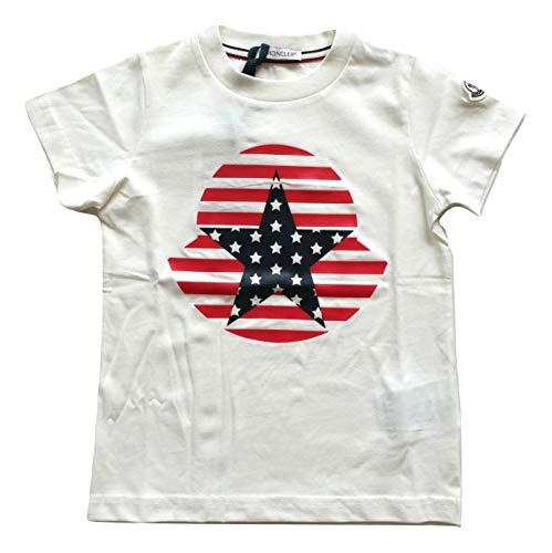 Moncler Junior Maglia t-Shirt Bambino con Stampa Logo 8024650 Bianco Rosso Blu (2 Anni)