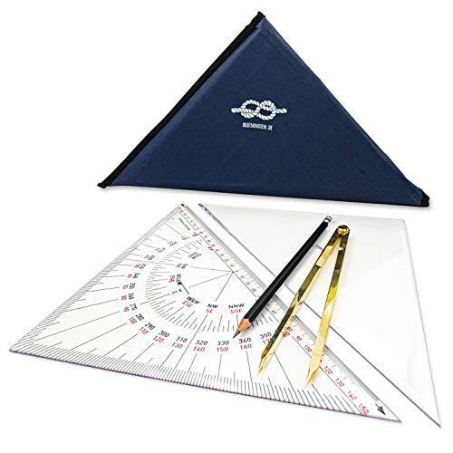 Casafilo Navigationsbesteck für den Sportbootführerschein SBF See & Binnen | Navigationszirkel, Kursdreieck & Anlegedreieck (je 33cm), Bleistift und Tasche | Navigationsset perfekt für unterwegs