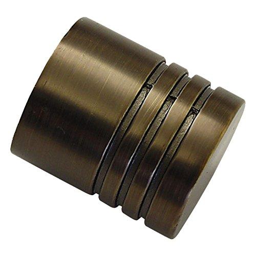 GARDINIA Endknöpfe für Gardinenstangen, 2 x Endstück Zylinder, Serie Chicago, Metall, Bronze, Durchmesser 20 mm