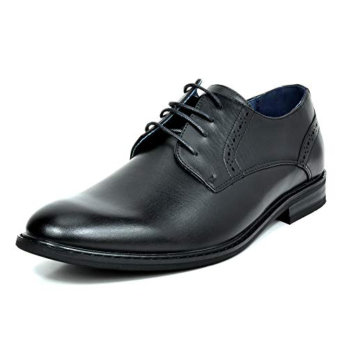 Black Leather Rainlin Shoes for Formal Wear Men