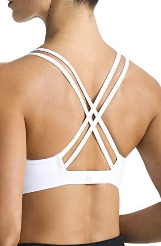 FITTIN Strappy Sports Bra - Crisscross Back Sports Bra for Women Wirefree Bra Yoga Tops White Large