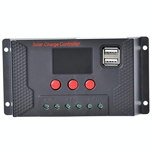 Ladieshow Cargador de batería de Litio del Sistema del Panel fotovoltaico del Controlador Solar 12V/24V(30A)