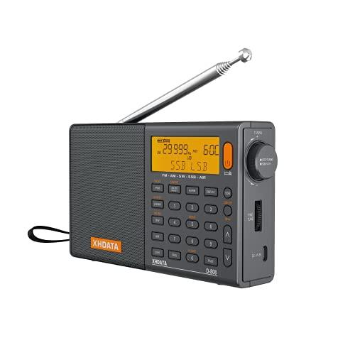 XHDATA D-808 Radio Digital Portátil FM estéreo SW MW LW SSB RDS Banda Aérea Altavoz de Radio con Pantalla LCD Reloj de Alarma Antena Externa y Batería Recargable(Gris)