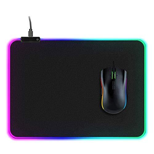 arvioo Tappetino per il mouse XXL, con 10 modalità di illuminazione RGB, sottomano speciale per giocatori, velocità estrema, non scivolano, con cavo USB (350 x 250 mm)