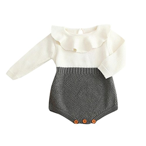 BeautyTop BeautyTop Kleinkind Neugeborenen Mädchen Baby Gestrickten Pullover Winter Warme Prinzessin Strampler Overall Kleidung Outfit (Grau, 70/3-6 Monate)