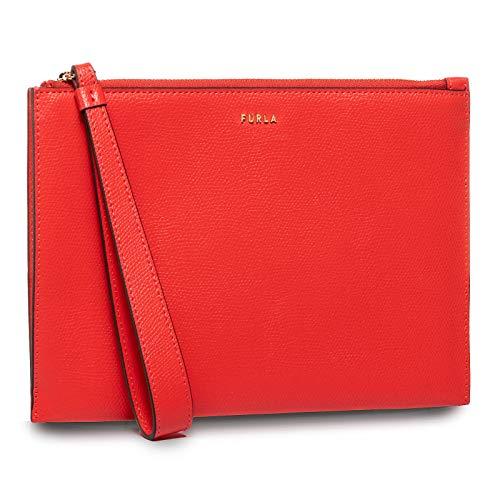 FURLA Babylon XL Envelope 21 Portafoglio in Pelle Rosso Fuoco, bustina con Cinturino da Polso 1056533 Fuoco