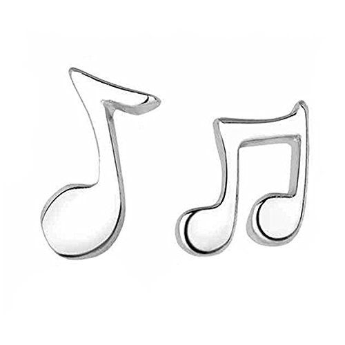Cute Small Musical Note 925 Sterling Silver Stud Earrings for Women Girls Mother's Day Music Style Earring