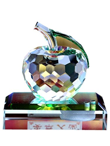 Crystal Glass Faceted Apple Perfume Bottle Crafts Clear Car Air Freshener Ornaments Home Desk Decor Gift