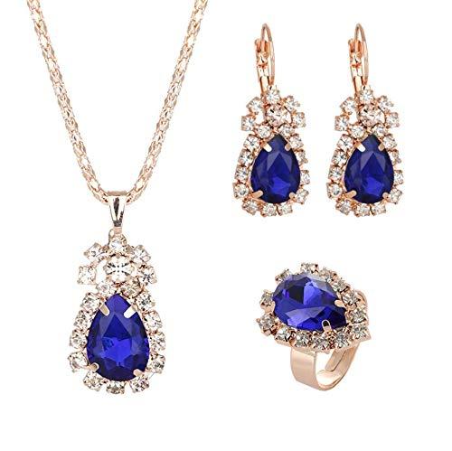 reminis Conjunto De Pendiente De Collar De Anillo De Gema De Cristal (Azul)