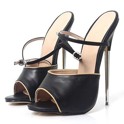 TIKENBST Tacchi Donna Sandali con Tacco Alto 18 Cm Punta in Metallo con Cinturino alla Caviglia Scarpe Eleganti da Donna,Black-36