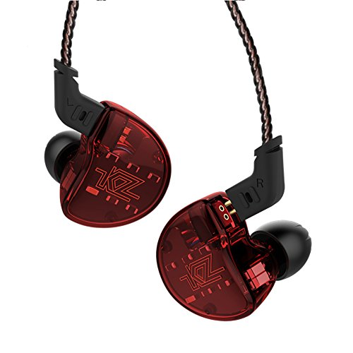 IEM Earbuds, KZ ZS10 HiFi in-Ear Headphones in Ear Monitors Earphones with Five Drivers Without Microphone (Red)