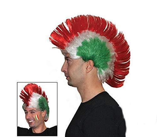 Funny Fashion Perruque Tricolore Italienne avec crête de Football