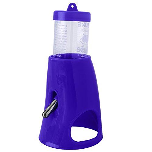 UEETEK Wasserspender für klein Tiere 2 in 1 Wasserflasche Mit Raum für Zwerghamster (blau)