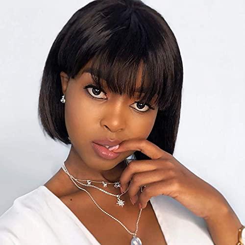 Perruque Bresilienne Cheveux Humain Naturelle Courte Bob Perruques Droite Tissage Bresilienne Naturel Perruque Cheveux Humain avec frange Perruques pour les femmes noires Human Hair 8 Pouce