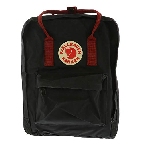 Fjallraven Unisex Backpack Kanken, Black/Ox Red, 38 x 27 x 13 cm, 16 L