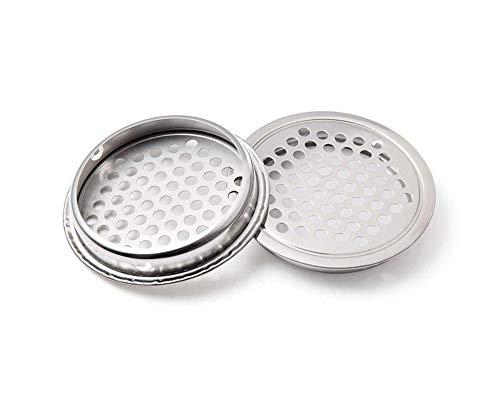 SENRISE - Griglia di ventilazione in acciaio inox, a forma rotonda, per cucina, bagno, armadietto, armadio o scarpiera (19 mm, 2 pezzi)