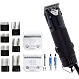 Oster A5 Dual Speed Grooming Clipper with Detachable Cryogen-X Blades #10 and #7F 7 Piece Universal Combs Guides Set