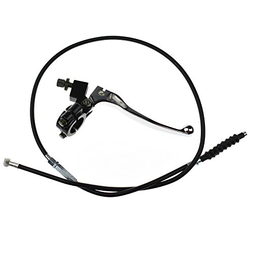 Minireen 7/8 Handlebar Left Clutch Lever and Clutch Cable with Adjuster for for 50cc 70cc 90cc 110 cc 125cc Dirt Bikes Pit Bike