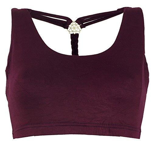 GURU SHOP Goa Psytrance Bikini Top, Top, Pixi Yoga Top, Damen, Plum, Baumwolle, Size:36, Tops & T-Shirts Alternative Bekleidung