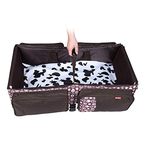 Decdeal 3-in-1 opvouwbare babybed, luiertas, wisselbaar, multifunctionele tas met kinderwagengordels en muggennet Insular