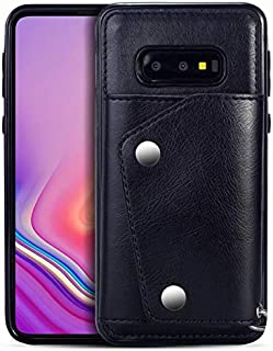 Wallet Case with Card Holder,Leather Kickstand Double Snap Fastener Durable Shockproof Protective Cover for Samsung Galaxy S10,Black