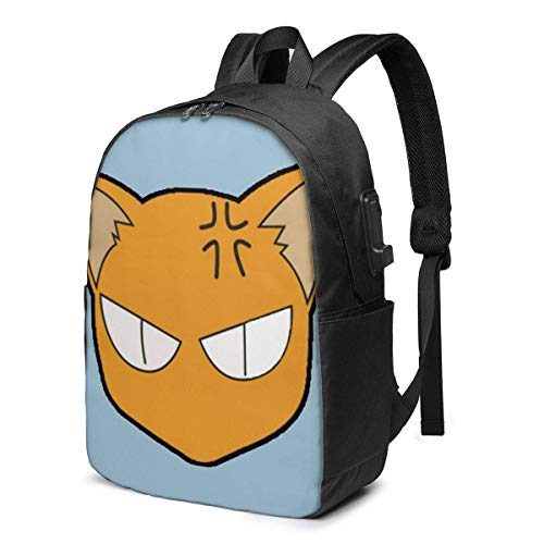 Hdadwy Kyo Catfashion Trend AllMatch Backpack 17 Inches with USB Port Travel Bag Student Bag Computer Bag Lightweight and Large Capacity Unisex
