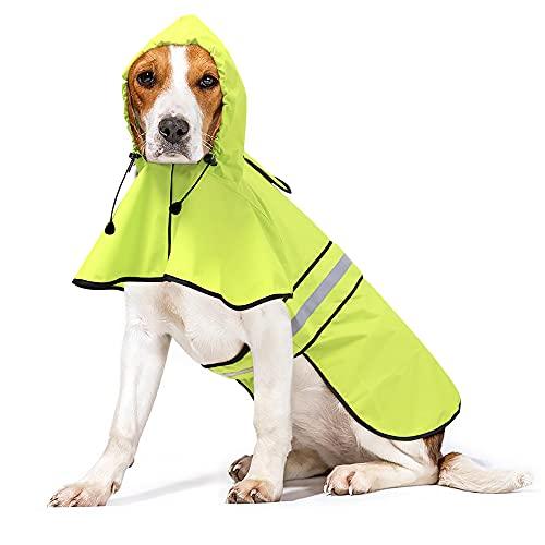 Ezierfy Waterproof Reflective Dog Raincoat- Adjustable Pet Jacket, Lightweight Dog Hooded Slicker...