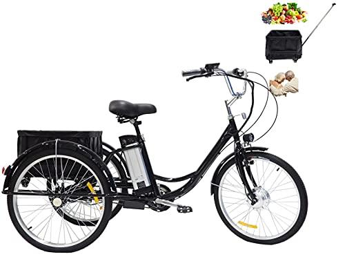 Triciclo para Adultos de 24 Pulgadas con batería de Litio de 3 Ruedas asistida por energía eléctrica Anciano con Canasta Trasera (extraíble con polea) Regalo para Padres 350w36V12AH