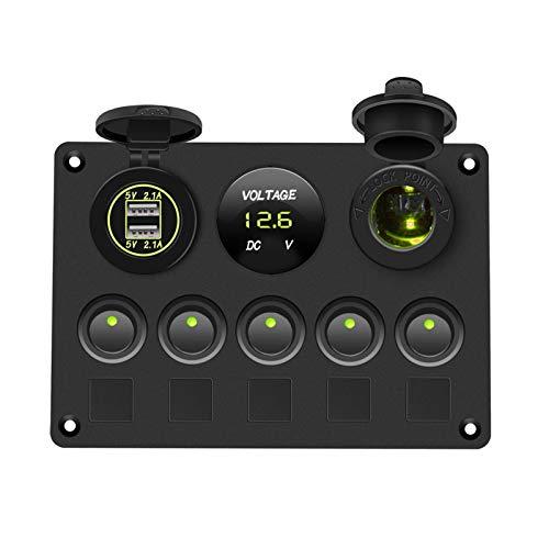 LOVELIN Lovelin17 Panel de interruptores de Barco Panel de Interruptor de automóvil Impermeable Voltímetro Digital Doble USB Puerto 12V Combinación de Salida Marina LED Rocker 5 Gang (Color : Green)