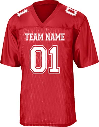 Custom Replica/Practice Football Jersey (Unisex, Youth/Adult) - Add Your Team, Name, and Number Red