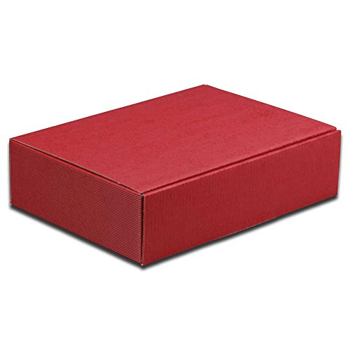 25x 2er Weinkarton, Geschenkkarton, Rot, Wellpappe, 36 x 18 x 9 cm
