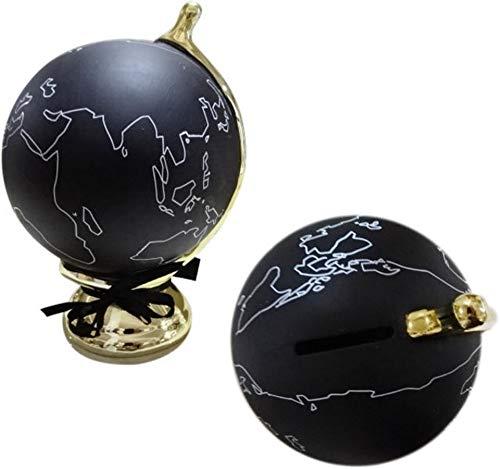 Unbekannt Michel Toys 522098 - Hucha (cerámica, 13 x 12 x 17 cm), diseño de bola del mundo, color negro