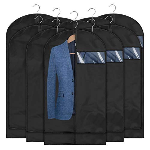 Qisiewell Premium Kleidersack 10 Stücke Schwarz(5M 60x100cm+5L 60x120cm) Kleiderhulle Anzughulle - Langzeitaufbewahrung Von Jacke Mantel Kleider Anzug Schutz Vor Staub Motten Schaden.