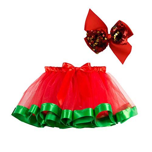 H.eternal(TM) - Disfraz de tutú para niñas y niñas, Vestido de Fiesta de Navidad, Baile, Ballet, Falda + Lazo Verde Verde M