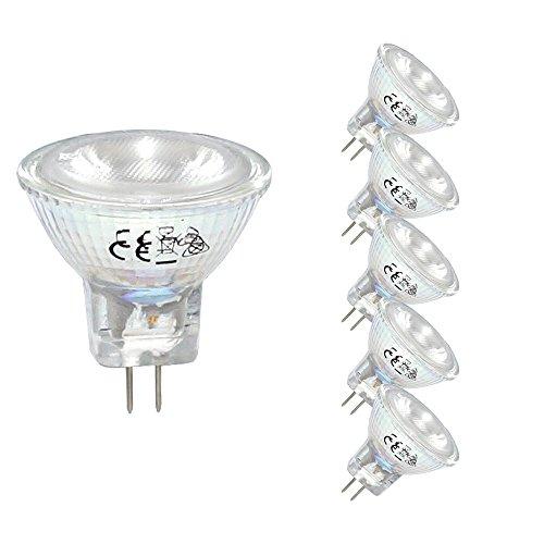 5 x LED Leuchtmittel Glas Reflektor MR11 2W = 20W GU4 12V 155lm warmweiß 3000K flood 30° (5 Stück)