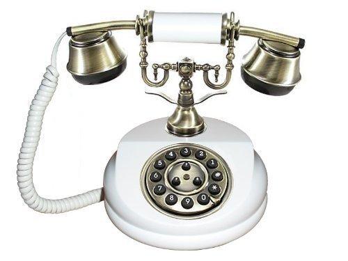 Antikes Telefon 1913 WEISS Handarbeit Holz + Messing