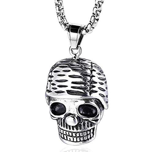 NC110 Vintage de Acero Inoxidable cráneo Soldado Collar de Titanio Colgante Personalidad Esqueleto Masculino y Femenino Colgante joyería Punk YUAHJIGE