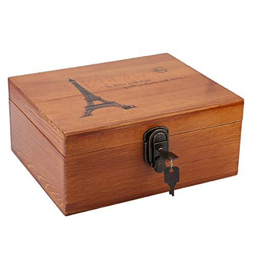 Hztyyier Caja del Tesoro Vintage, Caja de Madera con Cerradura y Llave, Caja Decorativa Vintage para Almacenamiento de Regalos y decoración del hogar(#3)