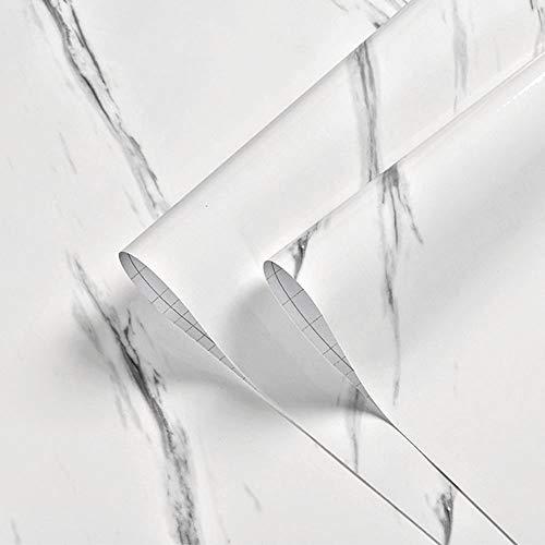 Keleily Papel Adhesivo Marmol 60CM X 3M Papel Marmol Blanco Vinilo Marmol Impermeable para Mesa Gabinetes Muebles Encimera Cocina Pared - B