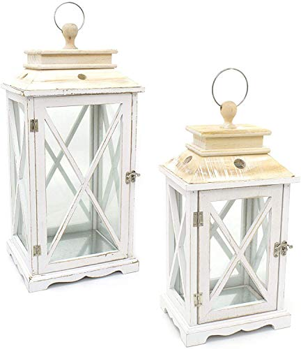 FSL Set of 2 Candle Hurricane Lantern Wooden Rustic Design Candle holder with Glass sides and Opening Door (Large 54 x 25 x 20 - Medium 41 x 19 x 15)