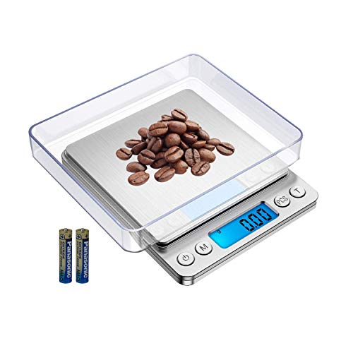 FOXLVDA Digital Kitchen ScaleUpgraded High Precision Food Scale Load-Bearing Range 01oz-3000 Gramswith Bowl Peeling and PCS Functionsfor Weight LossBakingPostal Scale Silver Stainless Steel