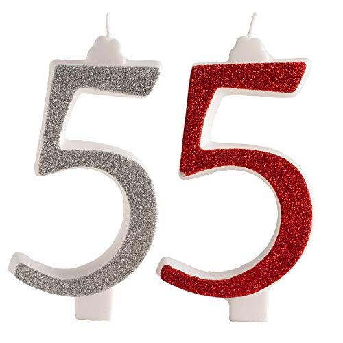 Vela con Purpurina Plateada para decoración de Pasteles en Forma de número 5. 13 cm