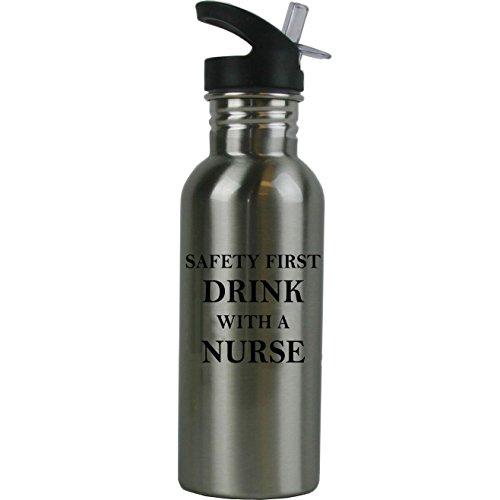 CustomGiftsNow - Botella de Agua de Acero Inoxidable con Pajita de 600 ml